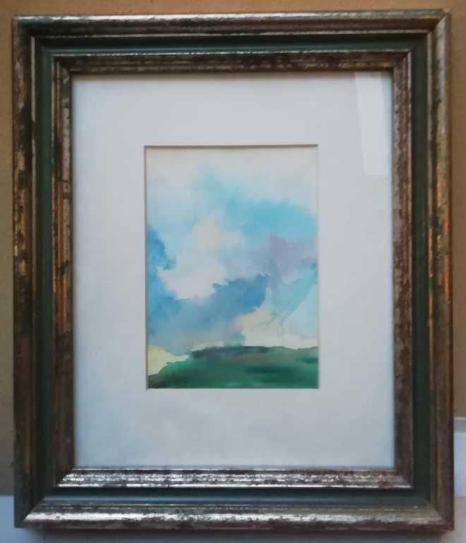 Nuvole-cane-e-gallina-acquerello-su-carta-1990
