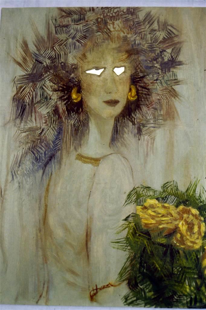 donna-con-rose-gialle-1990-olio-specchi-pizzo_res